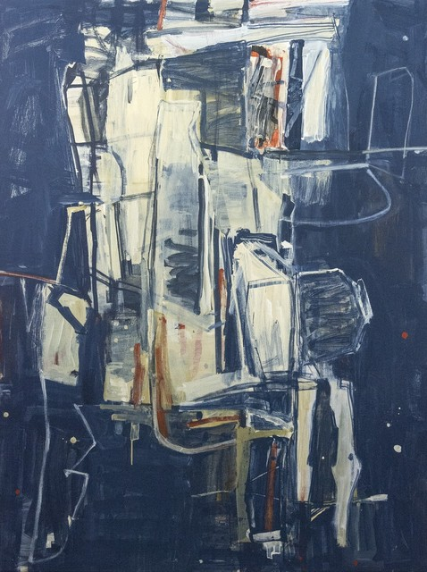 Shireen Kamran, 'The Sum of All Parts No 23 - blue, red, white, yellow, abstract acrylic painting', 2020, Painting, Acrylic paint, canvas, Oeno Gallery