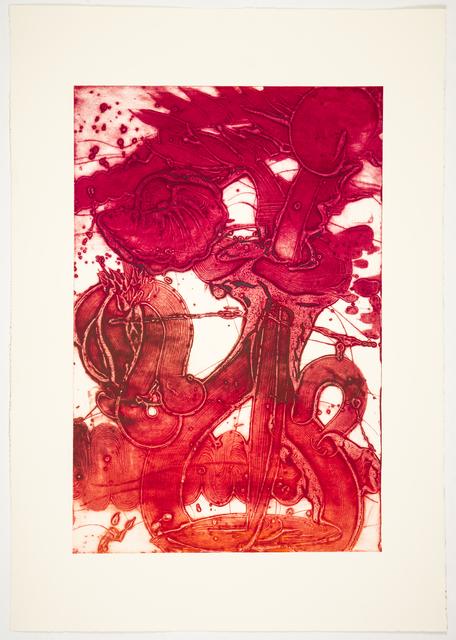 Catherine Howe, 'Bouquet (sunflower, red, sanguine, rose)', 2019, Print, Unique collagraph, Manneken Press