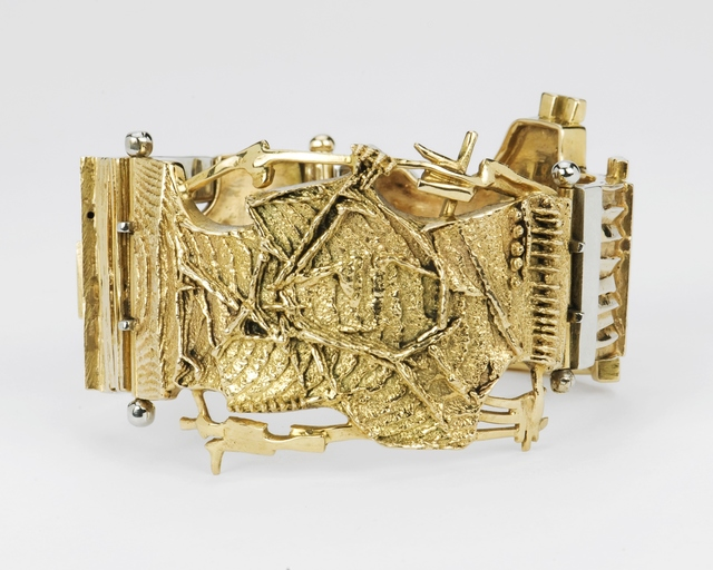 , 'Unique gold bracelet with cuttlefish bone castings,' early 1960s, Didier Ltd.