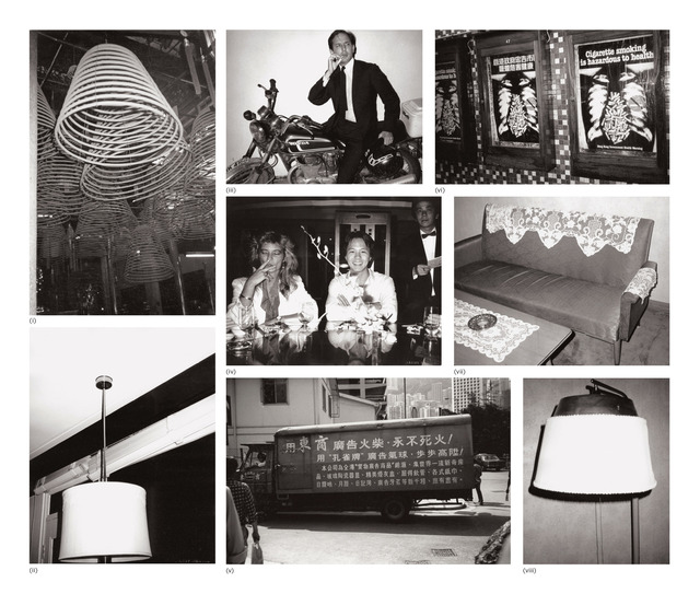 Andy Warhol, 'Eight works: (i) Coiled Incense; (ii) Ceiling Lamp; (iii) Fred Hughes; (iv) Natasha Grenfell and Alfred Siu; (v) Hong Kong Street (Truck); (vi) Sign: Cigarette Smoking is Hazardous to Health; (vii) Sofa and Table; (viii) Lamp', 1982, Photography, Eight gelatin silver prints, Phillips