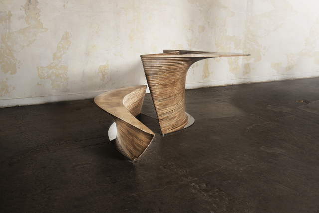 , 'Contoured crater desk and bench,' 2013, Armel Soyer