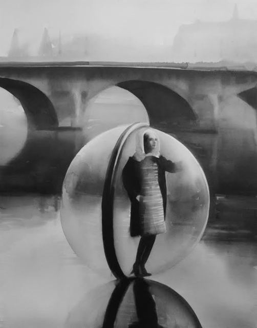 , 'On the Seine in 1963, photographer Melvin Sokolsky shot the iconic Bubble fashion series in Paris for Harper's Bazaar magazine's spring collection. Alix of Modern,' 2014, PRISKA PASQUER