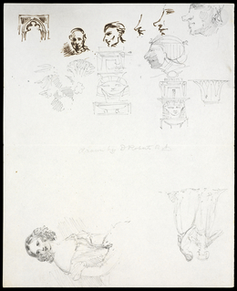 David Roberts, 'Sketches of heads and figures', Ink and pencil on paper, Getty Research Institute