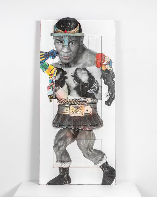 Stikki Peaches, 'The God of War Iron Mike Tyson ', 2020, Mixed Media, Mixed media collage on solid wood door, S16 Gallery