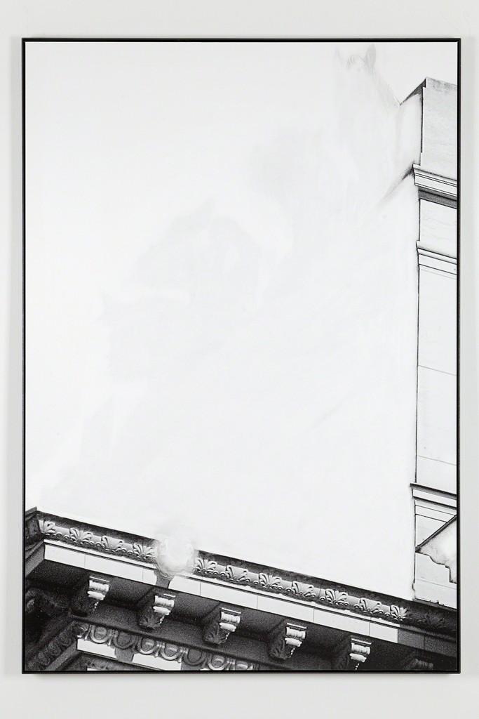 Daniel Poller, »Quadrigadurchbruch«, 2017, erased pigment print, 160 x 110 cm, unique, from the series: Der große Gewinn, solo show, G2 Projektraum // G2 Kunsthalle Leipzig, 13 Oct – 1 Nov 2017 © the artist