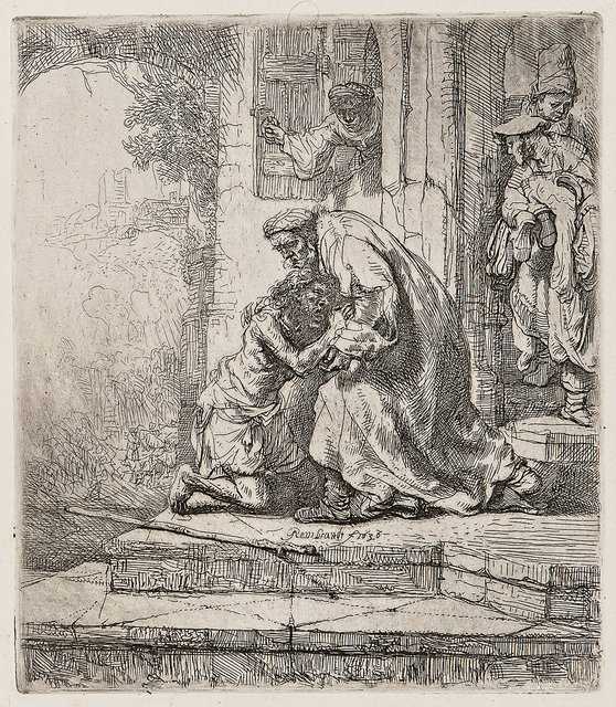 Rembrandt van Rijn, 'The Return of the Prodigal Son', 1636-a late impression, Print, Etching on fine white 18th century laid paper, Skinner