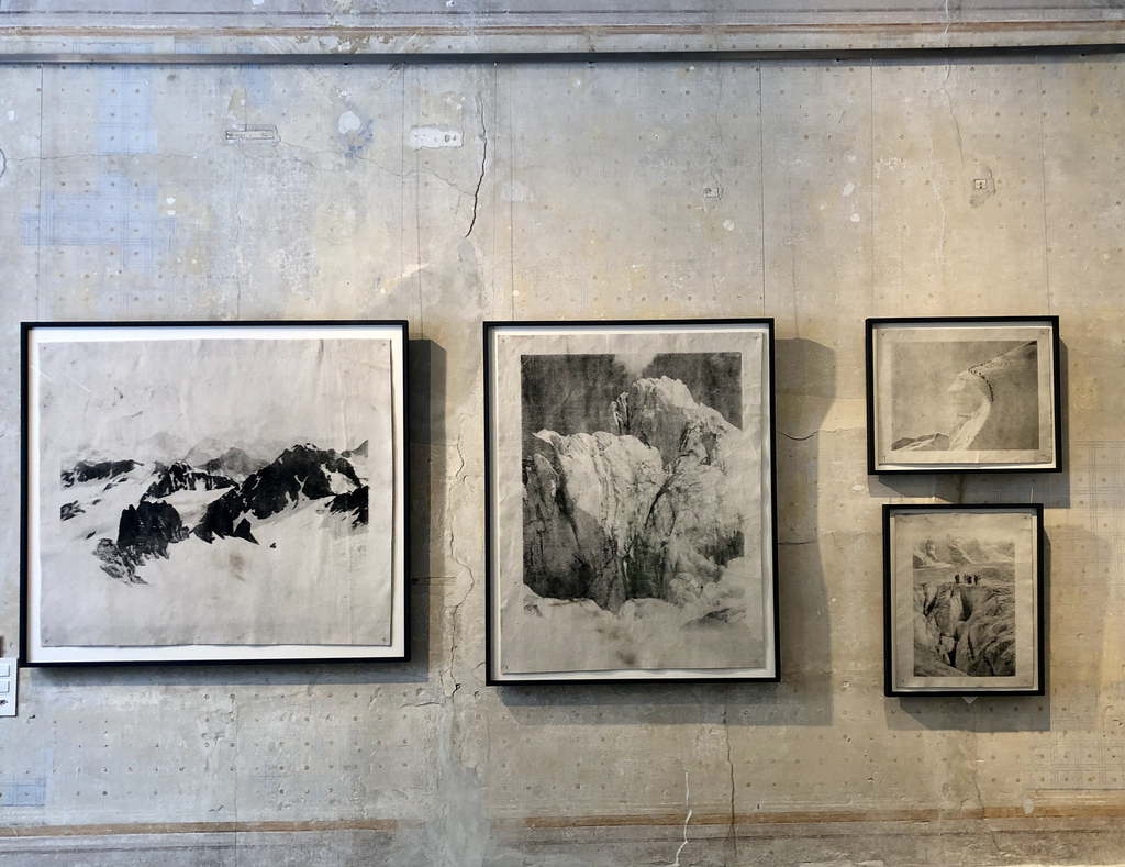 """Hanging of works from the series """"Monuments"""" by Douglas Mandry"""