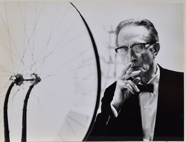 , 'Duchamp smoking Cigar next to Bicycle Wheel, Duchamp Retrospective, Pasadena Art Museum,' 1963, Robert Berman Gallery