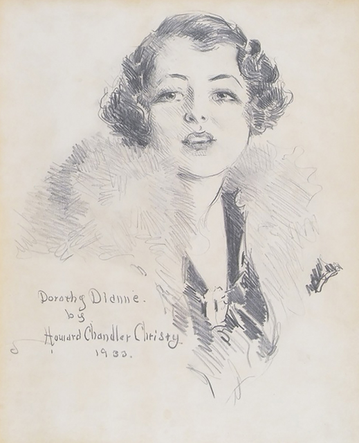 Howard Chandler Christy, 'Portrait of Broadway Star Dorothy Dionne', 1933, Drawing, Collage or other Work on Paper, Pencil on Paper, The Illustrated Gallery