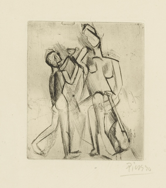 Pablo Picasso, 'Deux figures nues: femme à la guitare et garçon à la coupe (Bloch 17; Baer 21)', 1909, Print, Drypoint and etching, Sotheby's