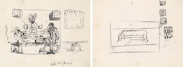 Salvador Dalí, 'Études pour les tableaux : La Cène et Galatée en formation', ca. 1954, HELENE BAILLY GALLERY