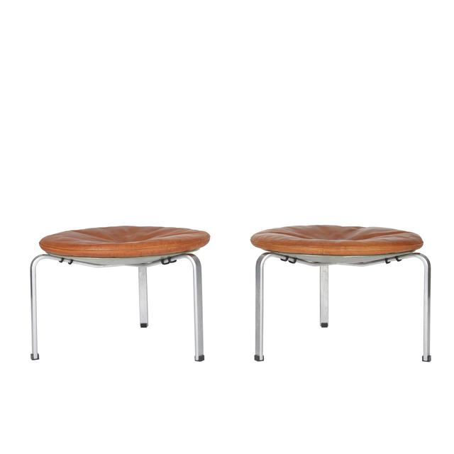 Poul Kjærholm, 'A pair of large PK 33 stools', 1953, Design/Decorative Art, Steel, plywood and original leather, Dansk Møbelkunst Gallery