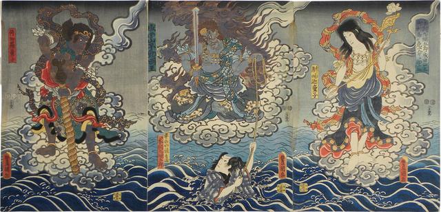 Utagawa Toyokuni III (Utagawa Kunisada), 'Life of Honchomaru Tsunagoro saved by divine favor at Naritasan', 1851, Scholten Japanese Art