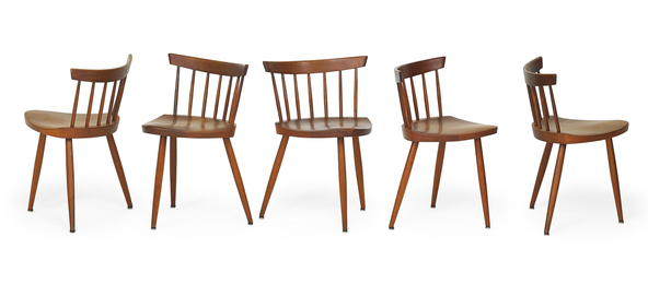 Five Mira chairs (set of three plus two)