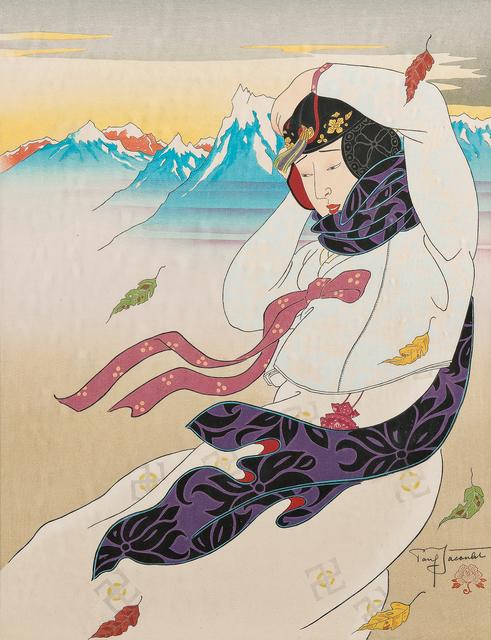 Paul Jacoulet, 'Vent du nord, Corée', 1953, Print, Color woodcut on paper, Skinner