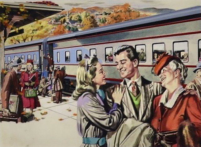 Albert Dorne, 'Pullman Advertisement, Saturday Evening Post, 1946', 1946, Drawing, Collage or other Work on Paper, Watercolor Painting, The Illustrated Gallery