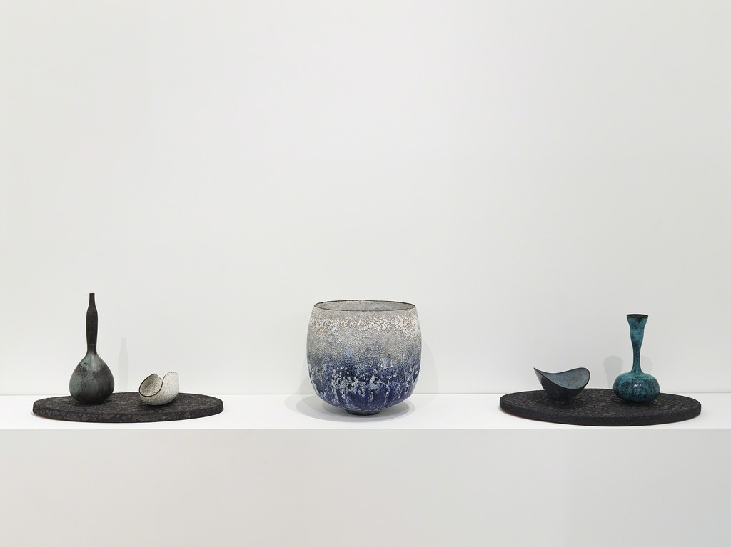 """Installation view of """"Transfigured."""" with ceramics by Jay Kvapil"""