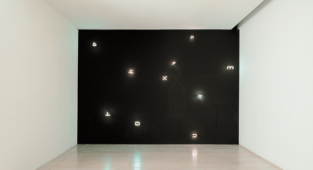 Joseph Kosuth, 'Sigla, Finnegans Wake, from Wall Works', 1998, Installation, Ten letter-shaped warm white fluorescent lights, to be installed on a matte-satin black painted wall., Phillips