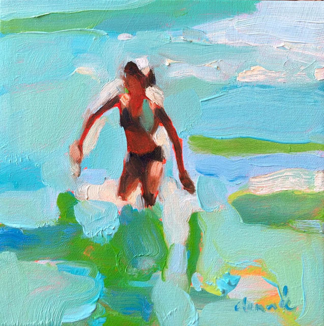 Elizabeth Lennie, '''Mythography 137'' abstract oil painting of a women in blue and green ocean', 2019, Eisenhauer Gallery