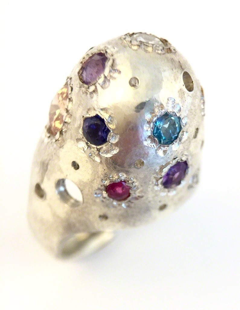 Alexandre Bergeron Cabochon troué ring with sterling silver, zircon, amethyst, green onyx, topaz, ruby and sapphires