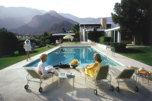 , 'Poolside Gossip: Lita Baron, Nelda Linsk, Helen Dzo Dzo at the Richard Neutra-designed house of Edgar Kaufman,' 1970, Staley-Wise Gallery