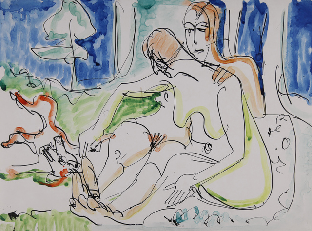 Ernst Ludwig Kirchner, 'Zwei Akte im Wald', ca. 1933, Drawing, Collage or other Work on Paper, Watercolour and pen in ink, Henze & Ketterer & Triebold