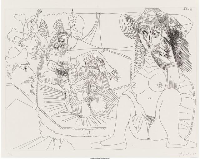 Pablo Picasso, 'Jeune femme péchant par pensée, from Séries 347', 1968, Print, Etching on Rives paper, Heritage Auctions