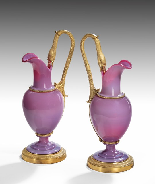 , 'Pair of Charles X Ormolu and 'Gorge de Pigeon' Opaline Glass Ewers ,' ca. 1825, Thomas Coulborn & Sons