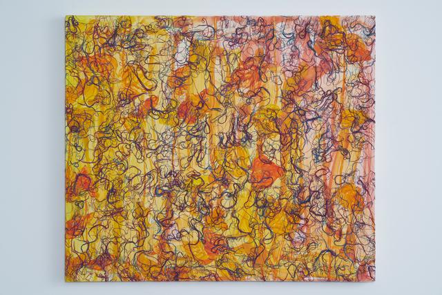 Ghada Amer, 'Small Leaves – RFGA', 2014, Painting, Acrylic, embroidery and gel medium on canvas, Goodman Gallery