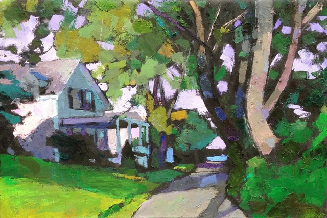 ", '""Street Scene, Edgartown"" Oil painting of Martha's Vineyard house with bright green grass and leaves,' 2017, Eisenhauer Gallery"
