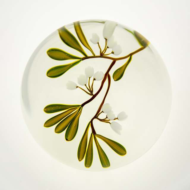 Paul Stankard, 'White Flowers with Green Leaves Paperweight', 1980, Modern Artifact