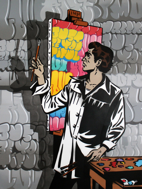 Rich Simmons, 'Rich Simmons, The Graffiti Artist (color artist, greyscale graffiti version)', 2017, Oliver Cole Gallery