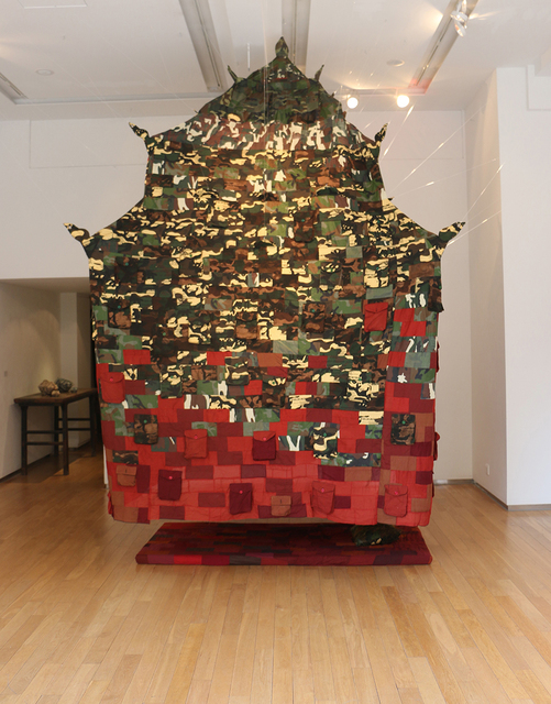 Bui Cong Khanh, 'Prayer on the Wind', 2015, Installation, Monk's robe, camouflage textile, handwritten notes, 10 Chancery Lane Gallery