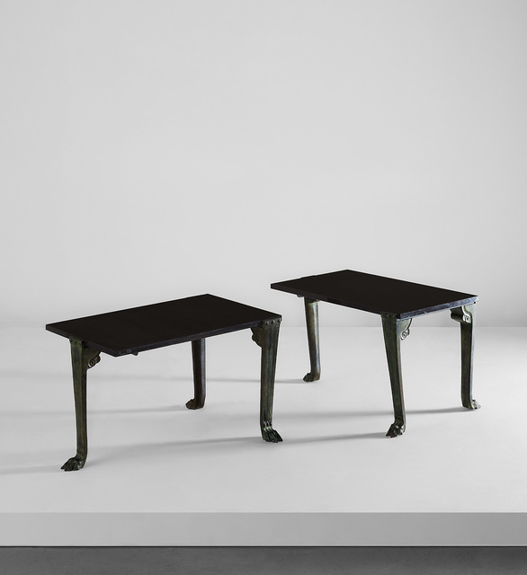 "T.H. Robsjohn-Gibbings, 'Pair of ""Trapeza"" tables', circa 1961, Design/Decorative Art, Patinated bronze, black marble., Phillips"