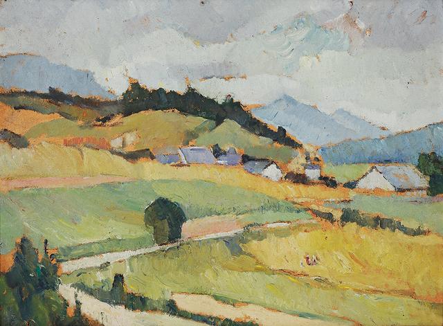 Bessie Davidson, 'Near Grenoble', ca. 1943, Painting, Oil on pulpboard, Charles Nodrum Gallery