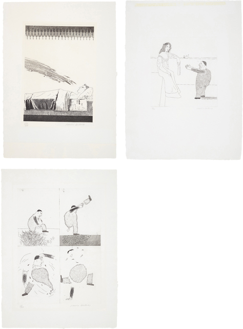David Hockney, 'Cold Water about to Hit the Prince; Pleading for the Child; and He Tore Himself in Two, plates 28, 37 and 39 from, Illustrations for Six Fairy Tales from the Brothers Grimm', 1969, Phillips