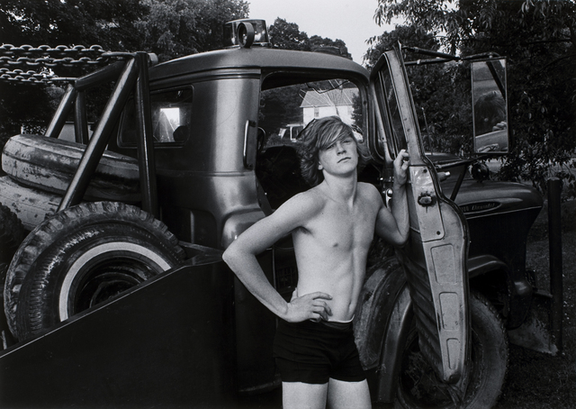 Mark Goodman, 'Donald York, Jr. standing beside his father's wrecker, Millerton, New York', 1974, George Eastman Museum