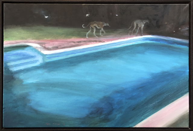 , 'Two greyhounds around the midnight pool,' 2019, 99 Loop Gallery