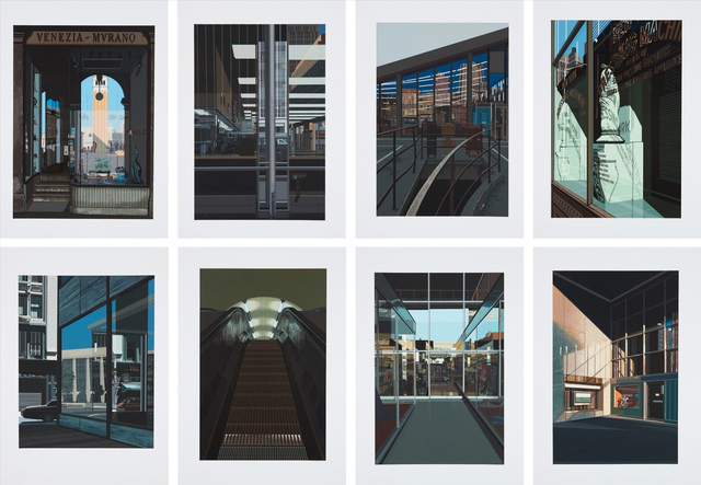 Richard Estes, 'Urban Landscapes No. 2 (Big Diamonds; Choc Full O'Nuts; 4 1/2 % Interest; Pressing Machinery; Piccadilly Station; Venezia Murano; The Ginger Man; Supermarket, San Francisco)', 1979, Allan Stone Projects
