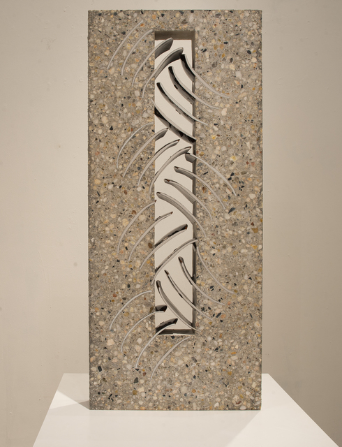 Thomas Lowell Edwards, 'Cross Hatch', 2019, Sculpture, Wheel thrown high fired porcelain altered post firing, embedded in concrete and polished, Linda Matney Gallery