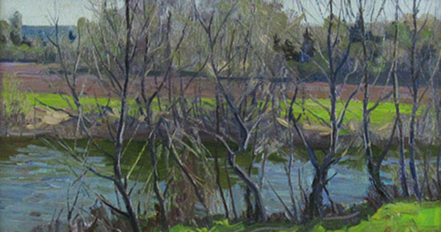 Anatol Bokov, 'Spring Stream with Trees', ca. 1970, Painting, Oil on Board, Janus Galleries