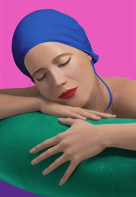 "Carole A. Feuerman, 'Serena with Blue Cap', 2012, Print, Screenprint on 320 gram archival ""Elegant"" handmade paper, IFAC Arts"