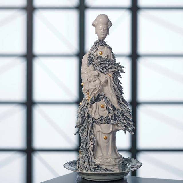 Bouke de Vries, 'Guan Yin with Porcelain Shards', 2020, Sculpture, Late 17th century Kangxi Chinese blanc de chine porcelain figure, early 17th century Chinese Ming dynasty porcelain fragments and wooden base, Adrian Sassoon