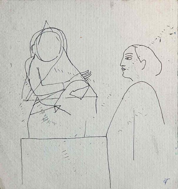 ", 'Drawing, Ink on paper by Indian Padmashree Artist Badri Narayan ""In Stock"",' ca. Circa, Gallery Kolkata"