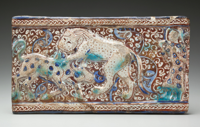 , 'Molded Luster Tile with Raised Braided Border and Cowherd Witnessing a Lion Attack a Calf against a Floral Background,' First half of the 13th century, Phoenix Art Museum