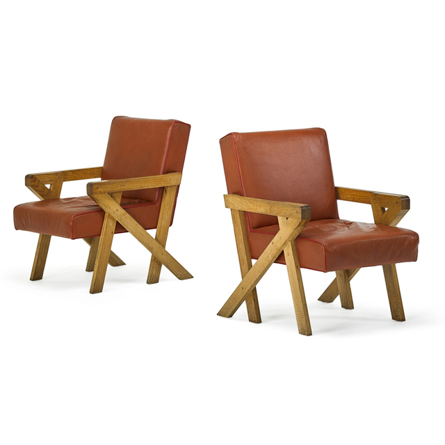Ali Tayar, 'Pair of Chairs From Pop Pub, New York', 2011, Design/Decorative Art, Oak, Leather, Rago/Wright