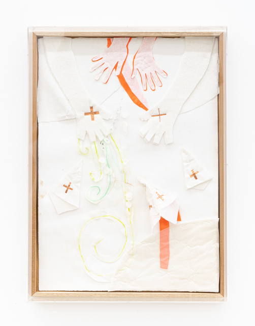 Karin Lambrecht, 'Nascimento do vento', 2015, Drawing, Collage or other Work on Paper, Satin, dry pastel, felt, copper, collage and pins on paper, Nara Roesler