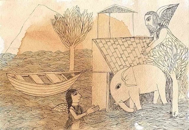 """, 'Welcoming the Young Elephant, Drawing on Paper by Padmashree Artist """"In Stock"""",' 2011, Gallery Kolkata"""