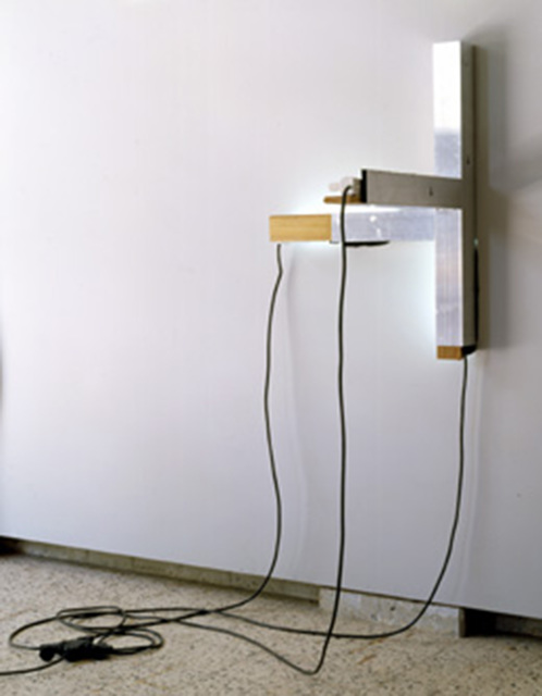 Cabrita, 'Triple', 2003, Installation, Aluminum, painted fluorescent lights, wood, carpet and electric cables, Giorgio Persano