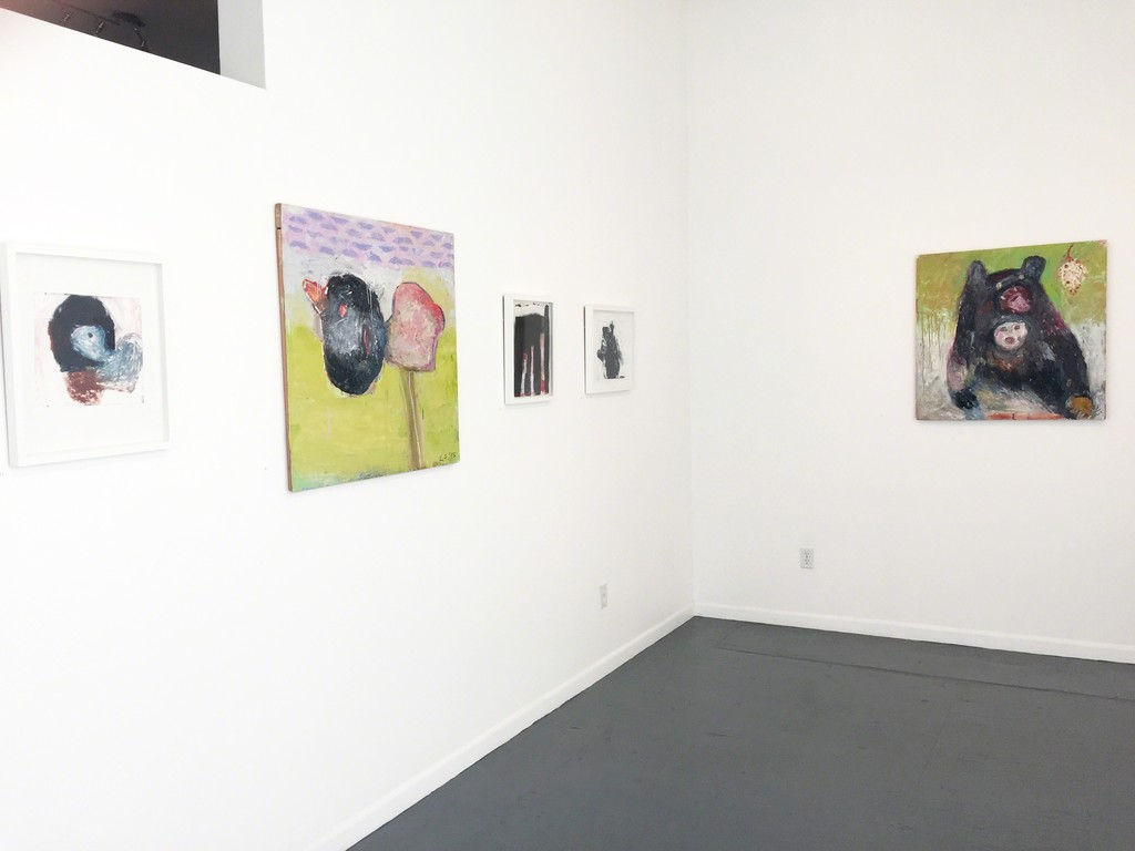 Livia Stein: Gallery shot  with oil paintings and mono prints.